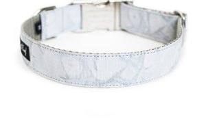 Back side of the Carrara Marble Dog Collar, displaying the pattern repeating itself along the length of the collar