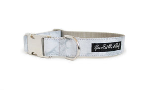 Carrara Marble Dog Collar with life-like gray veining and a polished metal buckle