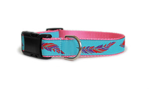 The Colorful Feathers Dog Collar, aqua with multi-colored feathers in red and purple, which repeat along the length of the collar.