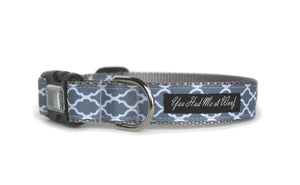 The Cottage Trellis Dog Collar in gray with elegant white quattrefoil.