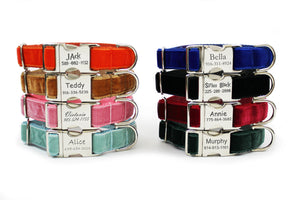 Velvet dog collars in eight color choices, including orange, ginger, pink, aqua, royal blue, black, red and green