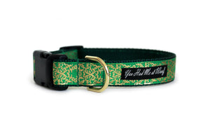 The Pot of Gold Dog Collar in kelly green with ornate gold foil accents and a gold D-ring.