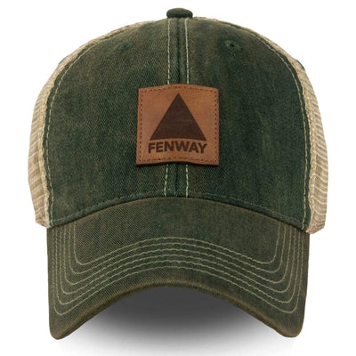 "Fenway Leather Patch ""Dirty Water"" Trucker Mesh Hat - Dark Green - Chowdaheadz"