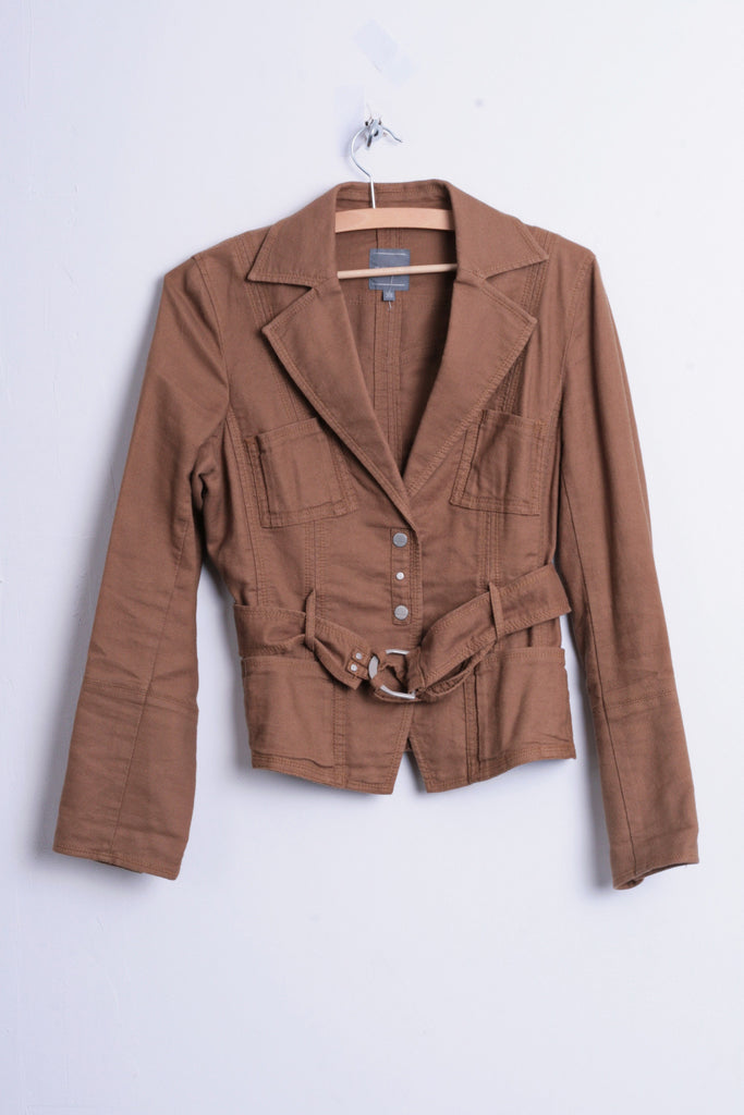 Marc Aurel Womens M Blazer Top Suit Brown Belt Cotton Single Breasted - RetrospectClothes