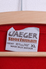 "Jaeger Youth 42"" XL Mens S Jumper Sweater Navy Red V Neck Wool - RetrospectClothes"