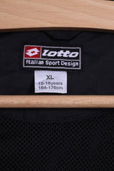 Lotto Boys XL 15-16 age 164 Track Top Jacket Black Zip Up Lightweight Training
