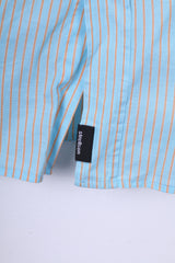 Strellson Mens L 40 15.5 Casual Shirt Blue Striped Cotton Short Sleeve