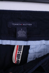 Tommy Hilfiger Womens 2 S Trousers Navy Blue Cotton Chinos Pants Straight Leg