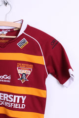 Kooga Giants Womens XS (Youth MDB) Rugby Shirt Maroon Striped Sport Top - RetrospectClothes
