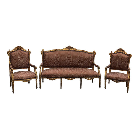 1930s Vintage Imperial Gilded French Sofa and Chairs - Set of 3