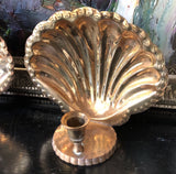 1970s Vintage Brass Shell Sconce Candle Holders- a pair