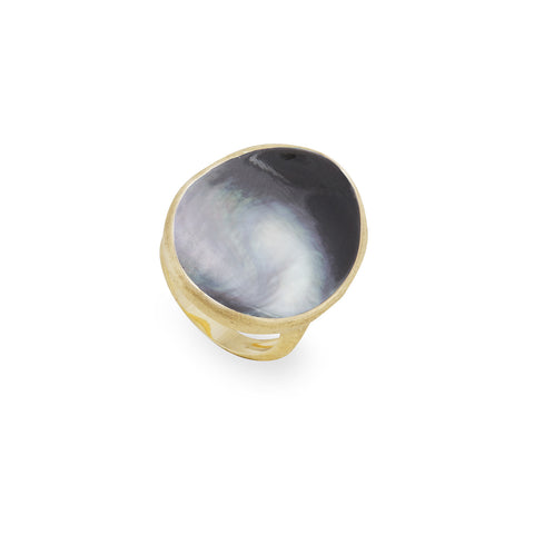 Lunaria 18K Yellow Gold Black Mother of Pearl Large Cocktail Ring