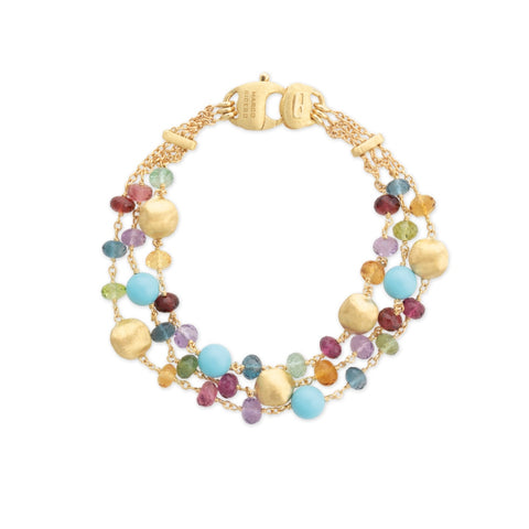Africa Gemstone 18K Yellow Gold Mixed Gemstone and Turquoise Triple Strand Bracelet