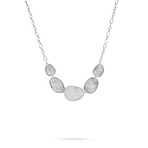 Lunaria 18K White Gold and Diamond Graduated Necklace