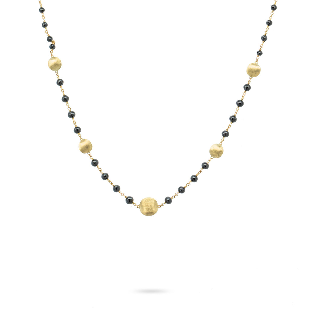 Africa 18K Yellow Gold and Black Diamond Necklace