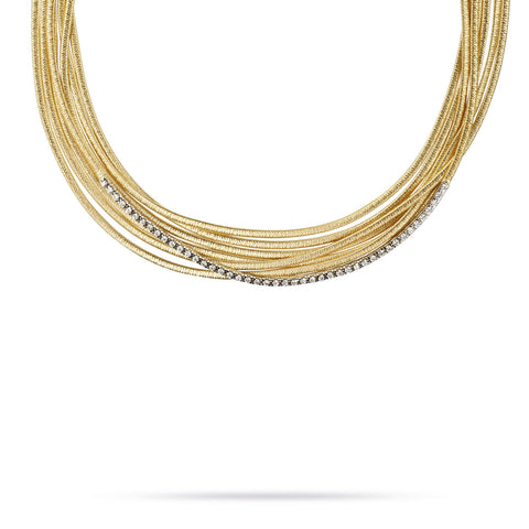 Cairo 18K Yellow Gold and Diamond (.9CT) Seven Strand Necklace