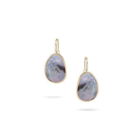 Lunaria 18K Yellow Gold and Diamond Black Mother of Pearl Drop Earrings