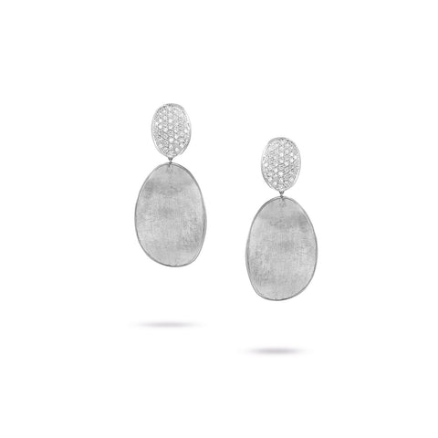 Lunaria 18K White Gold and Diamond Medium Double Drop Earrings