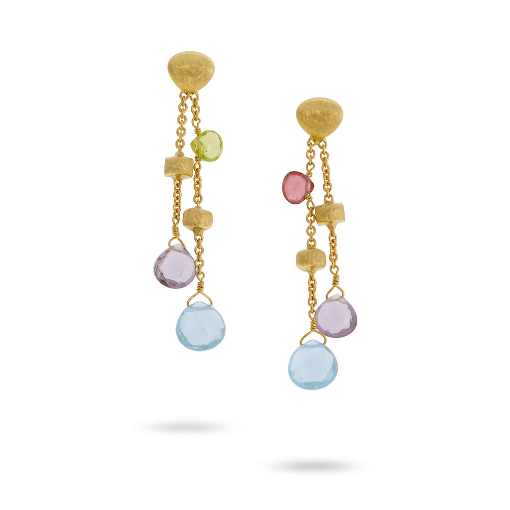 Paradise 18K Yellow Gold Mixed Gemstone Double Drop Earrings