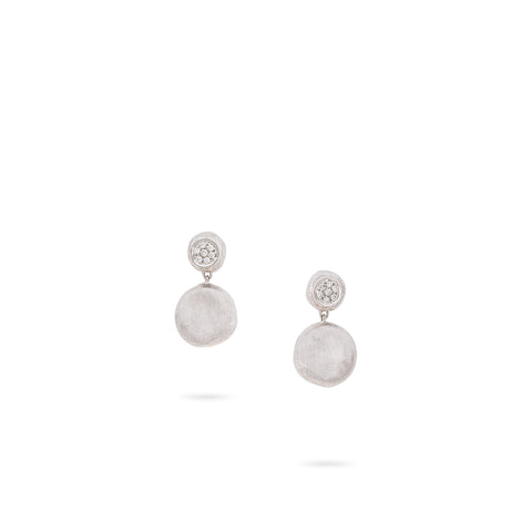 Jaipur 18K White Gold and Diamond Small Drop Earrings