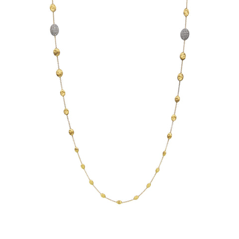 Siviglia 18K Yellow Gold and Two Diamond Stations Long Necklace