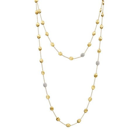 Siviglia 18K Yellow Gold and Diamond Large Bead Long Necklace