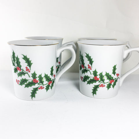 Set of four vintage porcelain holiday mugs - All the Trimmings