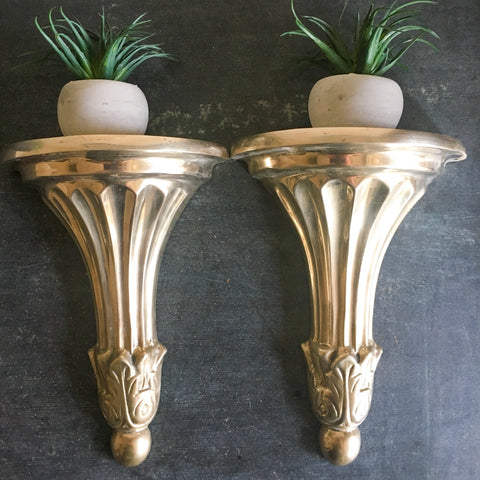Pair of Vintage Brass Wall Sconce Shelves - Art Deco Style