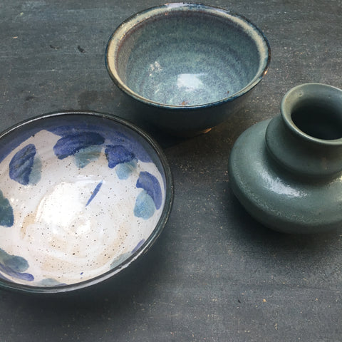 Vintage Trio of Studio Pottery in shades of blue