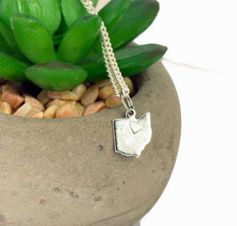 Small Silver Ohio Charm Necklace