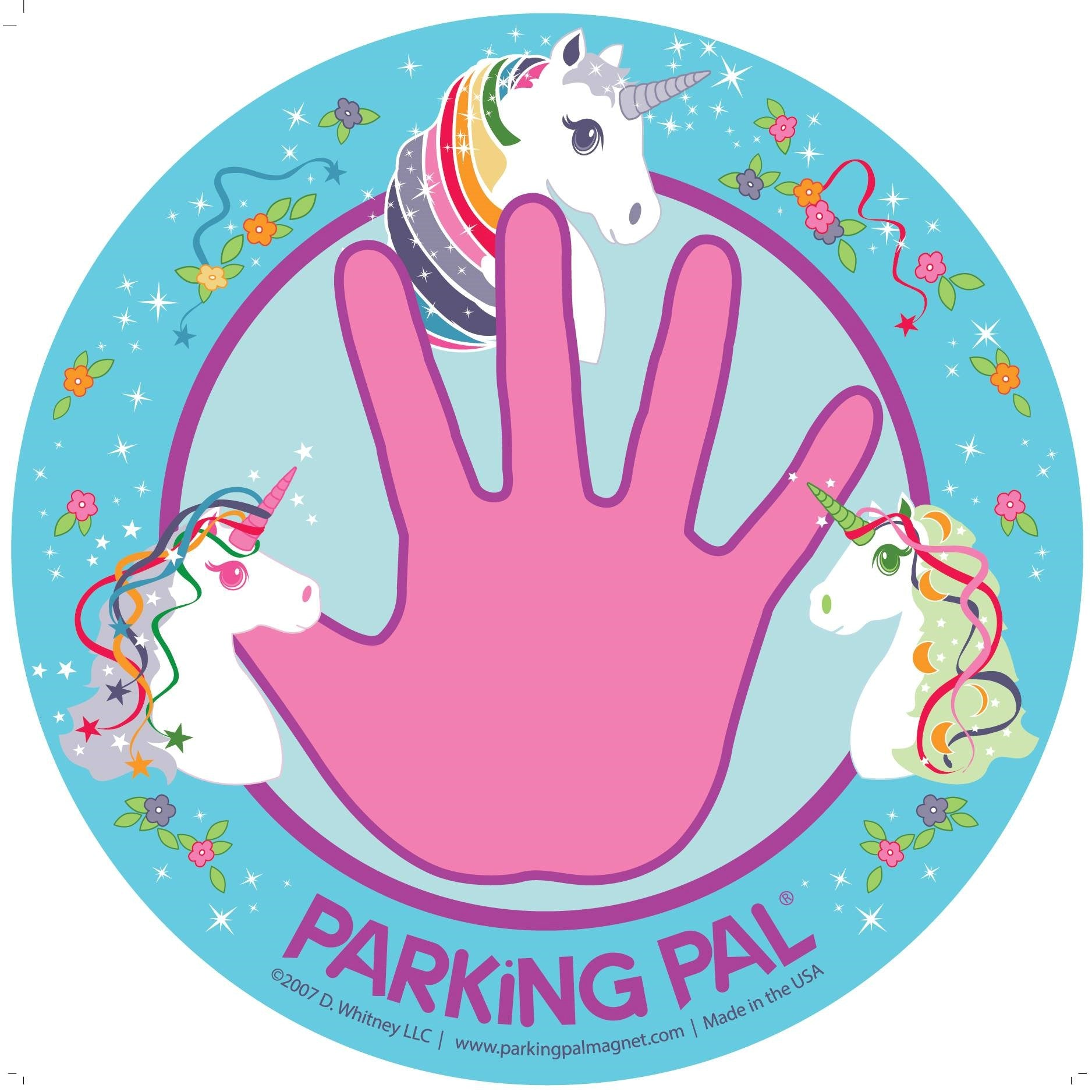 pink and blue unicorn hand magnet for parking lot safety