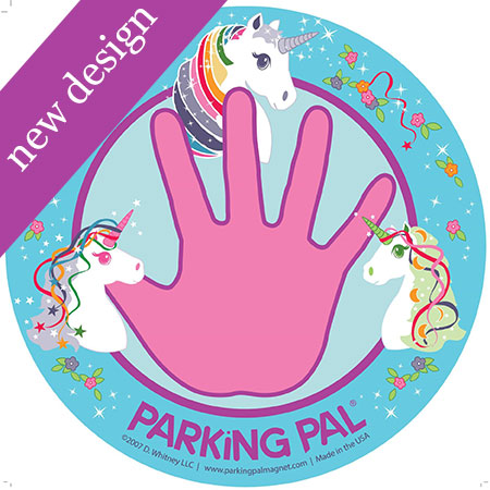 Pink unicorn safety magnet for toddlers around trucks
