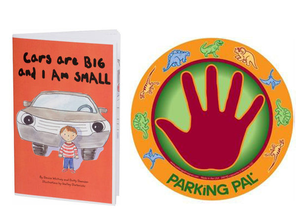 Dinosaur hand palm magnet for child safety around vehicles and in parking lots with safety book