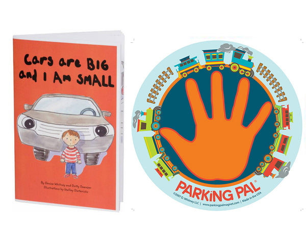 parking pal car safety magnet with trains and hand palm print and safety book for toddlers