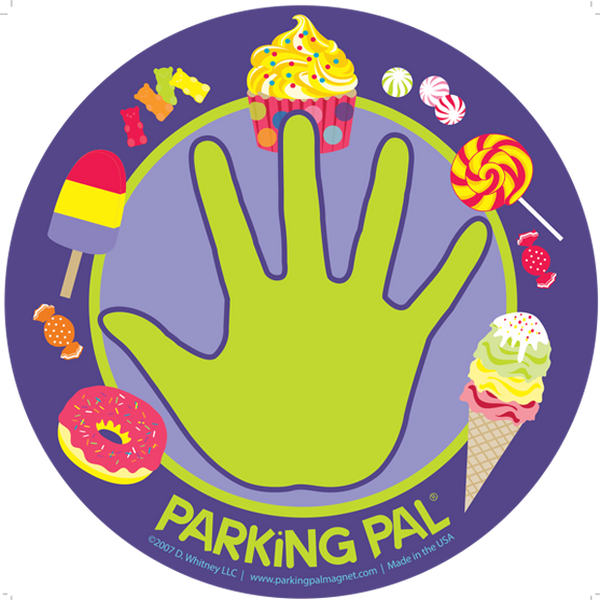 Purple ice cream cone, donut, candy parking lot toddler car safety magnet