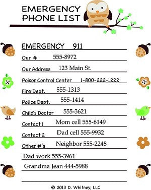 emergency phone list brown with owl for babysitters 911 poison control number