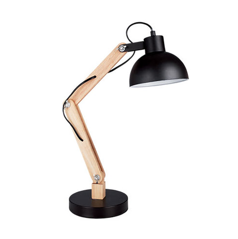 Bright Star Metal and Wood Desk Light with Black Metal Shade