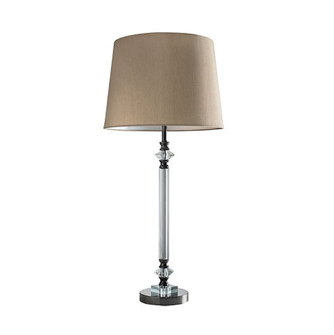 Bright Star Gun Metal Table Lamp with Hessian Shade