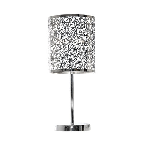 Bright Star Silver Patterned Table Lamp 470mm