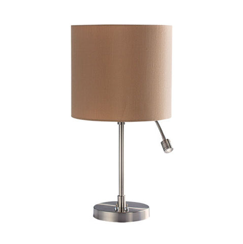 Bright Star Satin Chrome Table Lamp with Spot LED