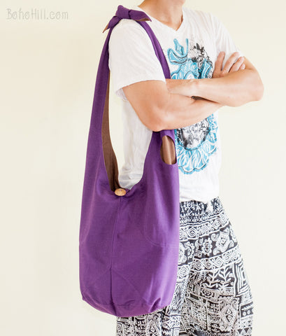 Active Bag - Reversible Sling Bag With Water Bottle Pockets (Purple/Brown)