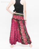 baggy bohemian harem pants gypsy paisley daisy genie yoga trousers shirred waist convert to romper soft rayon burgundy ii back