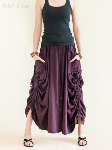 Creative Pants - Convertible Skirt To Wide Leg Pants With Split Buttons And Pull On String (Pansy Purple)