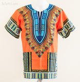 Dashiki Shirt - Size S/M Unisex African Dashiki Kaftan Hippie Festival Shirt (Orange)