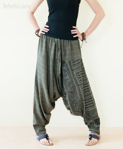 Hippie Pants - Ancient Hindu Om Harem Aladdin Unisex Textured Cotton Pants (Green)