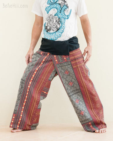 Extra Long Mountain Tribal Printed Cotton Thai Fisherman Pants Rustic Red side