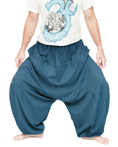 super roomy balloon low crotch unisex bloomers harem pants soft smooth stretch jersey cotton fun cozy minimalist design plus size turquoise teal blue wide