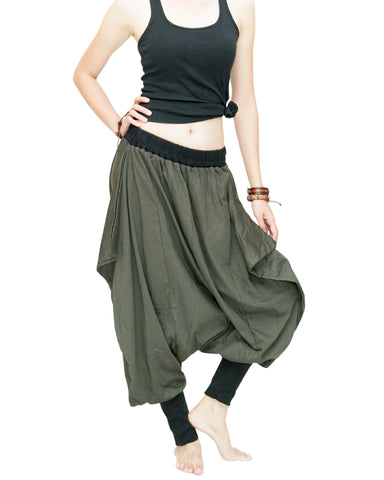 Tribal Low Crotch Baggy Tobi Pants Stretch Jersey Cotton (Olive Green) dance