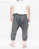 urban yoga harem pants flexible cropped capri cross body design stretch jersey cotton trousers carpenter pocket granite gray men down back