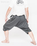urban yoga harem pants flexible cropped capri cross body design stretch jersey cotton trousers carpenter pocket granite gray men up back